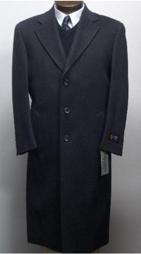 Men's Vintage Style Coats and Jackets 45 Inch Charcoal Gray classic model features button front WoolCashmere Overcoat $200.00 AT vintagedancer.com