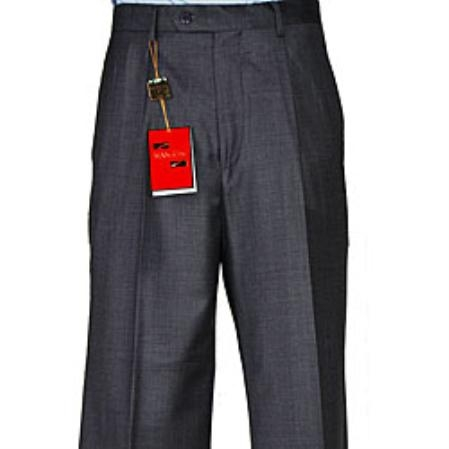 Charcoal Masculine Color Grey Wool Fabric Single Pleat Pant