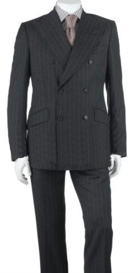 Charcoal Gray Pinstripe Wool Suit