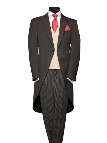 1900s Edwardian Men's Suits and Coats Charcoal Grey Light Weight Wool Morning Coat With Stripe Pattern Trousers $586.00 AT vintagedancer.com
