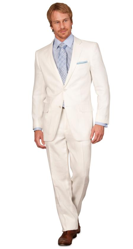 Classic Fit Linen For Beach Wedding Outfit kids suits available in little boys 3 three piece suit - White