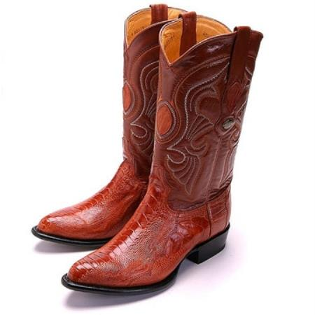 Authentic Los altos Cognac R-Toe Genuine Ostrich Leg