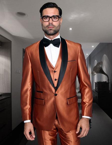 Copper Rust Cognac Shiny Suit