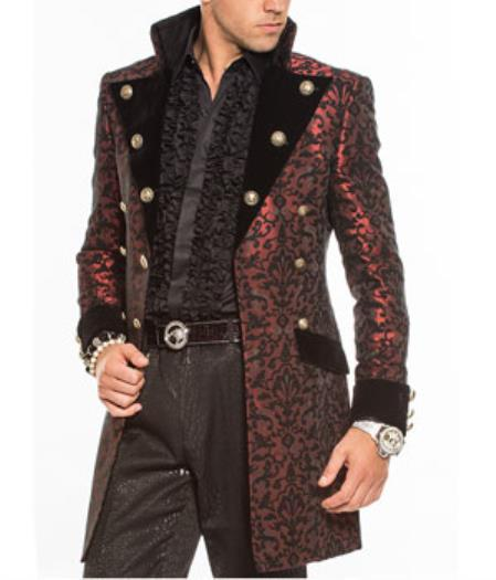 Men's Steampunk Clothing, Costumes, Fashion Fashion Slim Fit Long Over Coat Cosimo Rust $496.00 AT vintagedancer.com