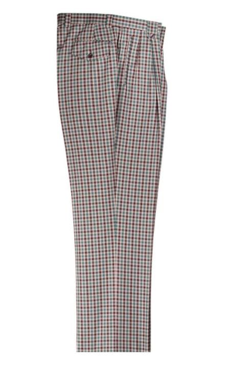 Victorian Men's Pants – Victorian Steampunk Men's Clothing Cream Brown Green Plaid Pattern Wide Leg Pleated Pants $87.00 AT vintagedancer.com