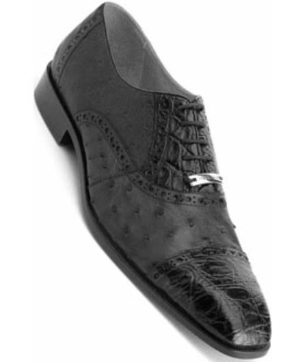 Men's Belvedere Crocodile Ostrich Black Genuine Shoes