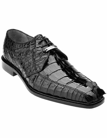 Men's Genuine Belvedere Horn back Style Crocodile Laceup Black Shoes