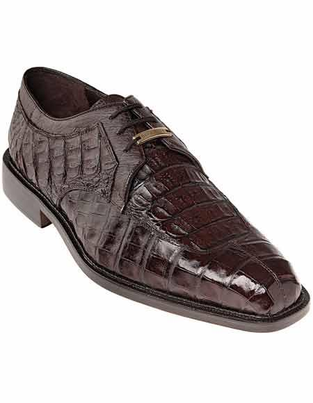 Men's Belvedere Lace up Style Brown Crocodile Skin Split Toe Shoes