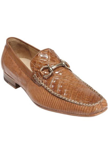 Men's Belvedere Crocodile Top Stitched Loafers Saddle