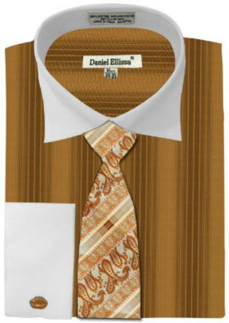 Daniel ellissa honey gold french cuff big tall shirt for Big and tall french cuff dress shirts