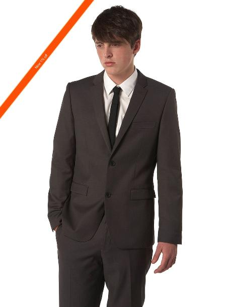 Ultra Slim Cut Dark color Black Wedding / Prom Outfit Cheap Priced Fitted Tapered cut Suit in 2-Button Style