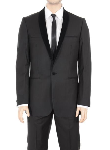 Basic Solid Plain Dark color black Shawl Collared One Button Suit Tuxedo Tux