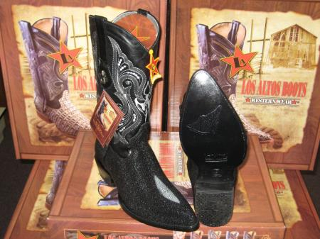 Authentic Los altos Formal Shoes For Men Dark color black Genuine mantarraya stingray Single Stone western Dress Cowboy Boot Cheap Priced For Sale Online