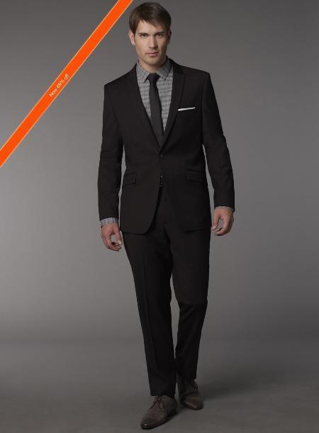 Euro Cut Dark color black Modern slim fit Suit | Shirt & tie