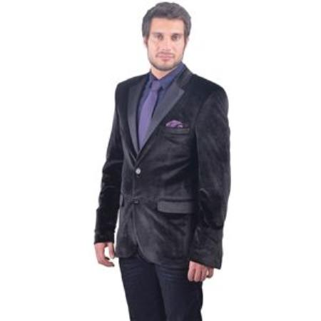 Dark color black Fitted Velvet Sportcoat with Tuxedo Satin L
