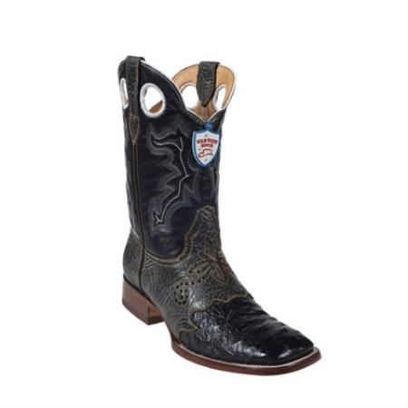 Wild West - Formal Shoes For Men Ostrich Leg Wild Ranch Toe - Dark color black Dress Cowboy Boot Botas De Avestruz Cheap Priced For Sale Online