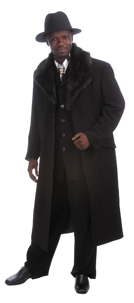 Men's Vintage Style Coats and Jackets Luxurious Long length Zoot Suit Dark color black $171.00 AT vintagedancer.com