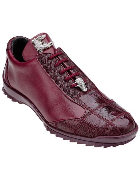 Paulo Genuine Ostrich Dark Burgundy Belvedere Shoes - men's Exotic Shoes / Soft Calfskin Casual Dress Sneaker