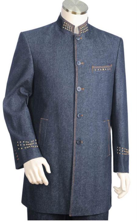 Two Piece Denim Fabric Suit Blue Cotton Mandarin Suit