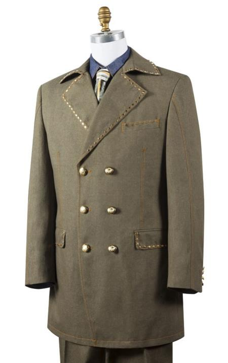 Canto Olive Denim Double Breasted Jean Fashion Suit