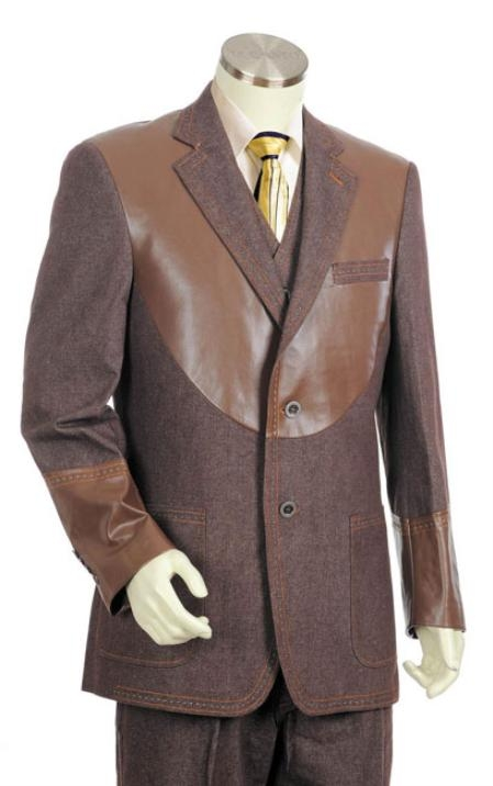 Men's Vintage Style Coats and Jackets Coco Chocolate brown Two buttons 3pc Fashion Denim Cotton Fabric Trimmed Two Tone Sportcoat JacketSuitTuxedo $176.00 AT vintagedancer.com