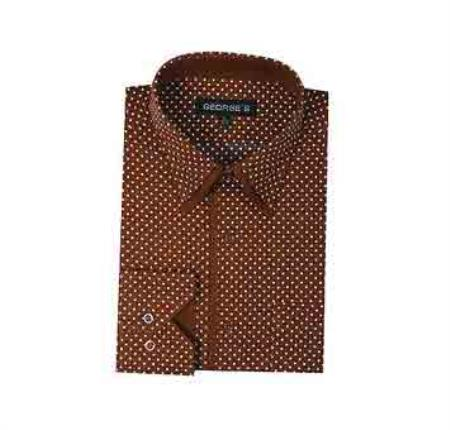 Classic Fit Mini Polka Dot Design Standard Cuff Dress Cheap Fashion Clearance Shirt Sale Online For Men Brown