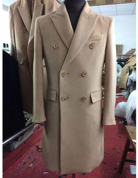 1950s Men's Jackets Mens Wool 6 Buttons Double Breasted Peak Lapel Long Overcoat Beige $300.00 AT vintagedancer.com
