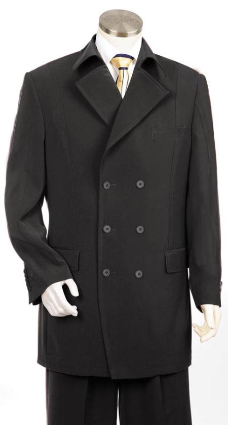 Double Breasted Black Vested Suit
