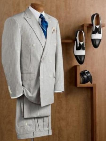 Double Breasted Blue Summer seersucker Pattern Suit (Jacket