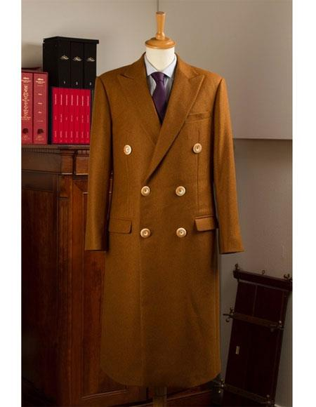 Men's Vintage Style Coats and Jackets Double Breasted Brown Wool  Cashmere Peak Lapel Overcoat $250.00 AT vintagedancer.com