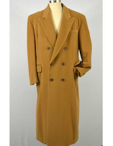 1920s Mens Coats & Jackets History Mens Double breasted Ralph Lauren Overcoat Camel $300.00 AT vintagedancer.com