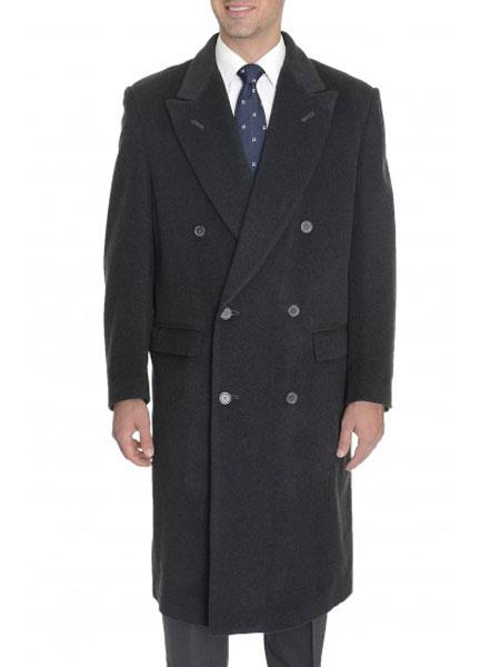 Men's Vintage Style Coats and Jackets Mens Peak Lapel Wool Blend Double Breasted Full Length Charcoal Grey Top Coat $186.00 AT vintagedancer.com