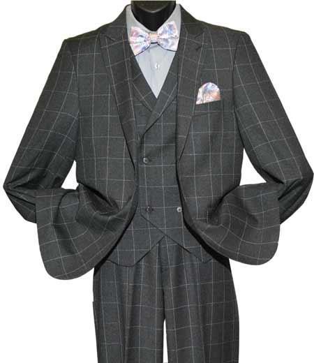 1940s Mens Suits | Gangster, Mobster, Zoot Suits Mens Windowpane Charcoal Peak Lapel Double Breasted Vest Suit $183.00 AT vintagedancer.com