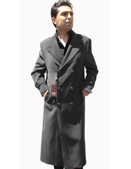 Men's Vintage Style Coats and Jackets Double Breasted Charcoal Grey Buttons Closure Peak Lapel Overcoat $248.00 AT vintagedancer.com