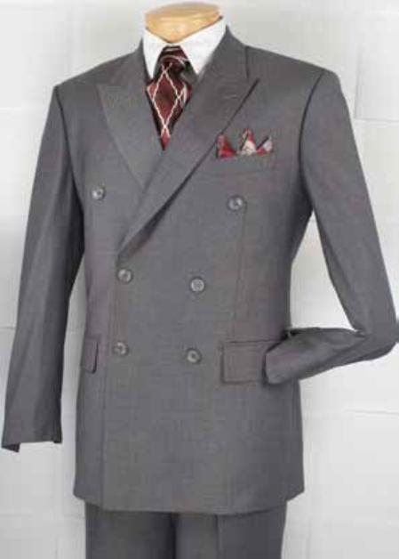 1940s Men's Suit History and Styling Tips Executive Double Breasted Suit Gray $180.00 AT vintagedancer.com