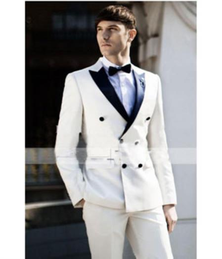 c0a353ddd3 Ivory Cream Off White Color Double Breasted Wool Tuxedo