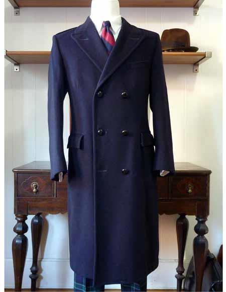 Men S Double Breasted Ralph Lauren Wool Blend Navy Blue Over