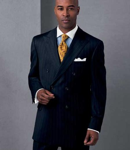 Navy Pinstripe Wool Fabric Suit, Double Breasted Suit