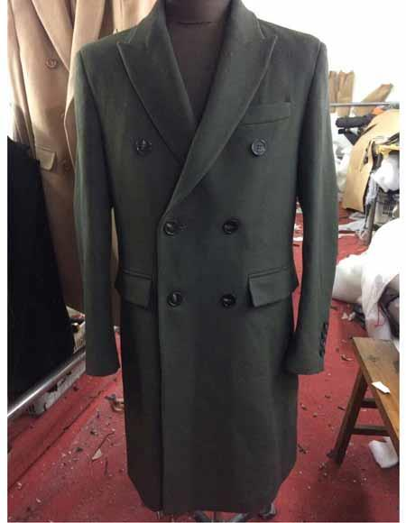 Men's Vintage Style Coats and Jackets Mens Wool Double Breasted 6 Buttons Peak Lapel Long Olive Overcoat $300.00 AT vintagedancer.com