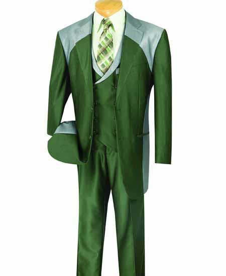 Double Breasted Olive Color Suit