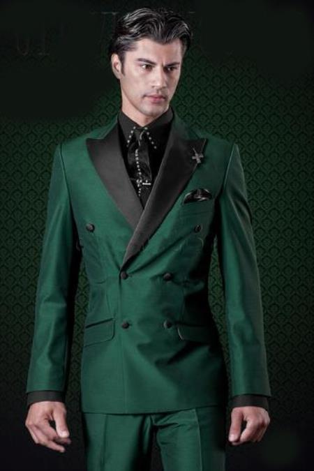 Double Breasted Olive Green Peak Lapel Slim Fit Suit