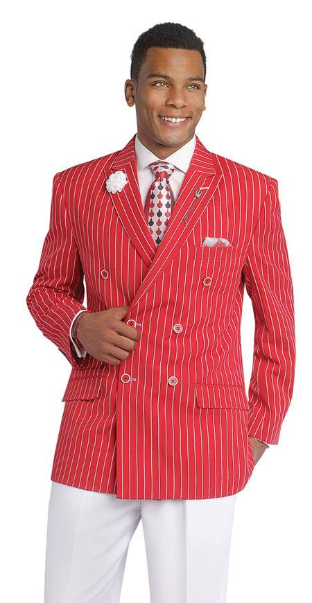 1920s Mens Suits | Gatsby, Gangster, Peaky Blinders Double Breasted Pinstripe Blazer Red Sport Coat Jacket $166.00 AT vintagedancer.com