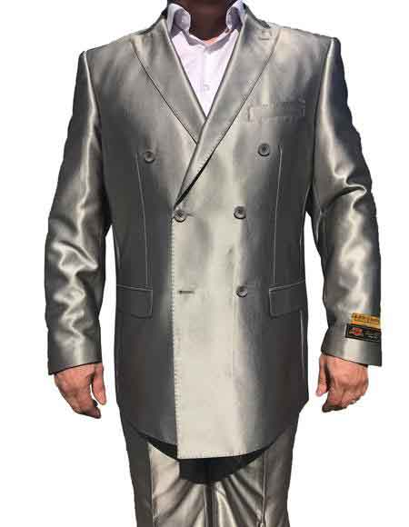 Double Breasted Shiny Gray Suits