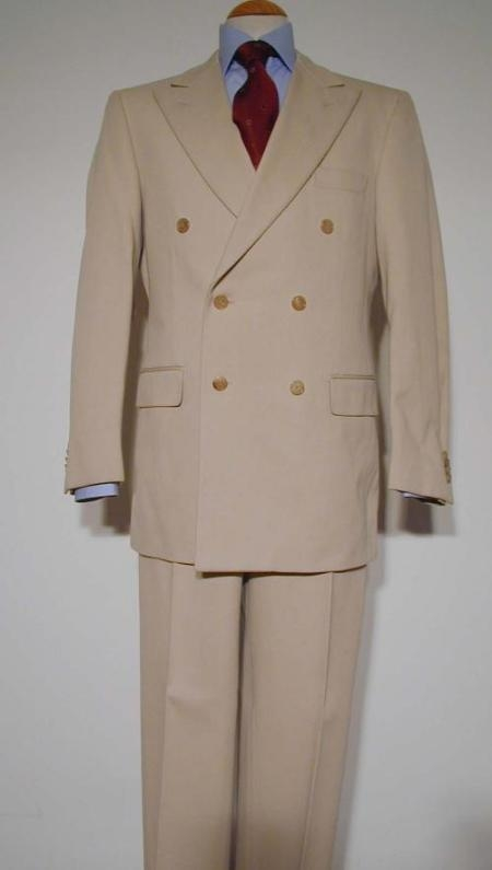 1940s Men's Suit History and Styling Tips Tan  Beige Pure Virgin Wool fabric Feel Rayon Viscose Double Breasted Suit $176.00 AT vintagedancer.com