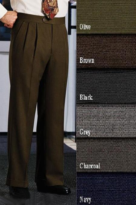 Retro Clothing for Men | Vintage Men's Fashion Double- Pleated creased Slaks  Dress Pants Front Pants Superior fabric 120s Wool fabric Dress Slacks lined to knee Harwick Made In USA America $111.00 AT vintagedancer.com