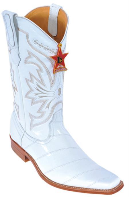 Mens Vintage Style Shoes & Boots| Retro Classic Shoes Eel Classy Vintage Riding White Authentic Los altos Western Boots Western Classics $216.00 AT vintagedancer.com