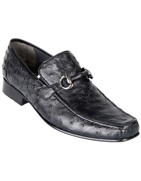 Los Altos Genuine Stylish Exotic Ostrich Slip-On Black Classic Dress Shoes