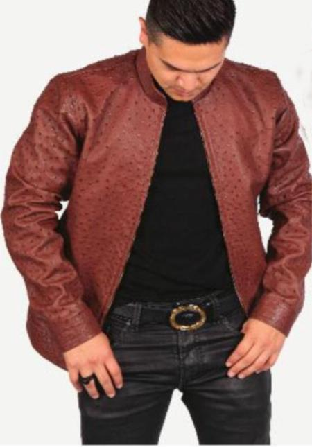 d279fb6f0 ID#KO18027 Handcrafted Exotic Skin Burgundy Full Quill Ostrich ~ Alligator  ~ Caiman Jacket