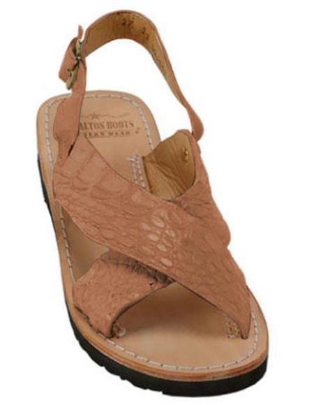 Exotic Skin Matte Cognac Sandals