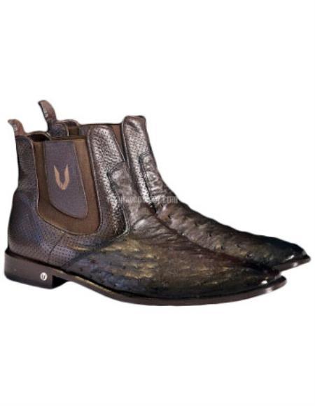 Vestigium Handcrafted Genuine Ostrich Chelsea Boots Faded Brown